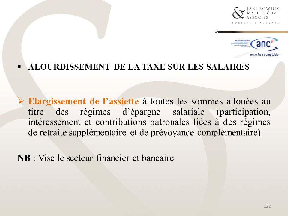 ALOURDISSEMENT DE LA TAXE SUR LES SALAIRES Elargissement de lassiette à toutes les sommes allouées au titre des régimes dépargne salariale (participat