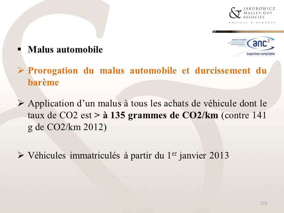 Malus automobile Prorogation du malus automobile et durcissement du barème Application dun malus à tous les achats de véhicule dont le taux de CO2 est