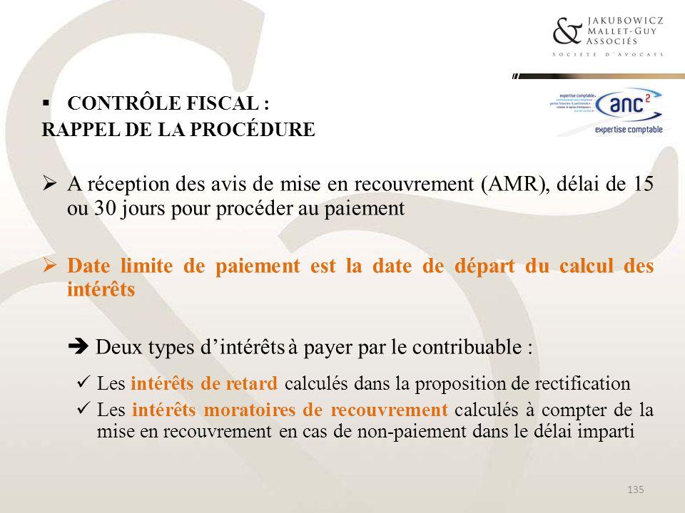 CONTRÔLE FISCAL : RAPPEL DE LA PROCÉDURE A réception des avis de mise en recouvrement (AMR), délai de 15 ou 30 jours pour procéder au paiement Date li