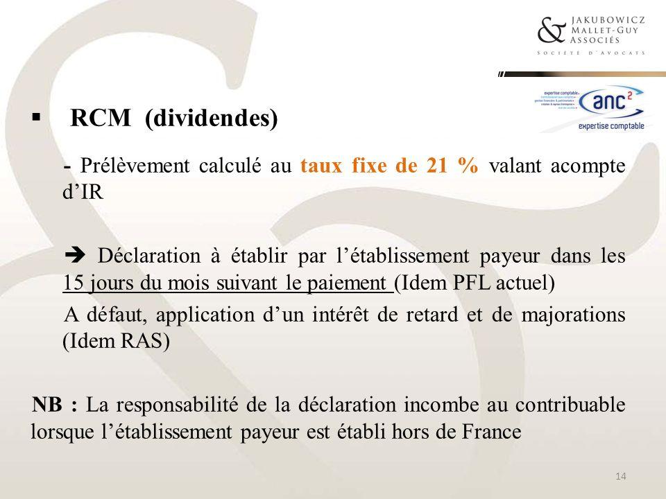 RCM (dividendes) - Prélèvement calculé au taux fixe de 21 % valant acompte dIR Déclaration à établir par létablissement payeur dans les 15 jours du mo