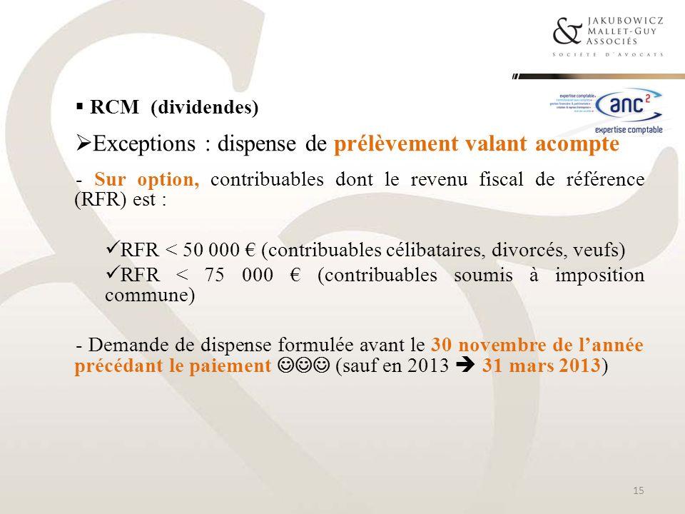 RCM (dividendes) Exceptions : dispense de prélèvement valant acompte - Sur option, contribuables dont le revenu fiscal de référence (RFR) est : RFR <