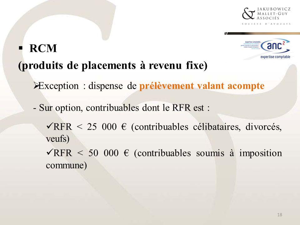 RCM (produits de placements à revenu fixe) Exception : dispense de prélèvement valant acompte - Sur option, contribuables dont le RFR est : RFR < 25 0