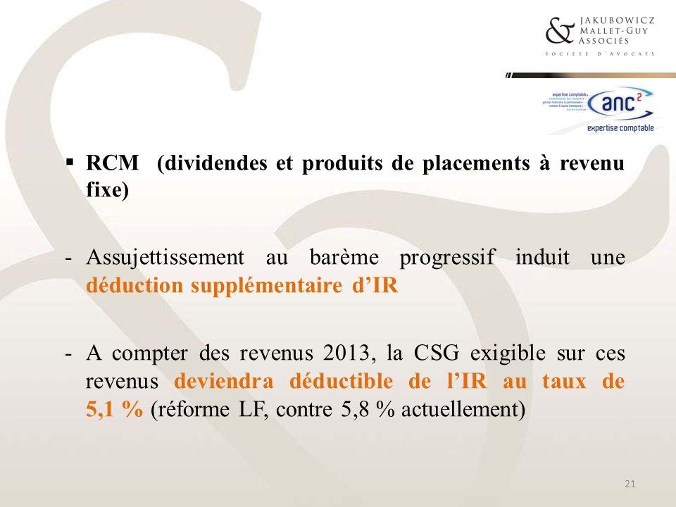 RCM (dividendes et produits de placements à revenu fixe) -Assujettissement au barème progressif induit une déduction supplémentaire dIR -A compter des
