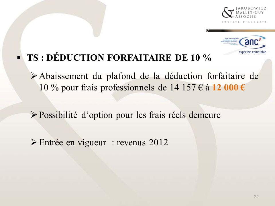 TS : DÉDUCTION FORFAITAIRE DE 10 % Abaissement du plafond de la déduction forfaitaire de 10 % pour frais professionnels de 14 157 à 12 000 Possibilité