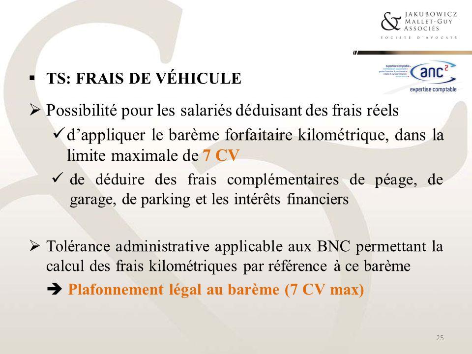 TS: FRAIS DE VÉHICULE Possibilité pour les salariés déduisant des frais réels dappliquer le barème forfaitaire kilométrique, dans la limite maximale d