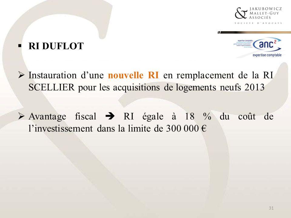 RI DUFLOT Instauration dune nouvelle RI en remplacement de la RI SCELLIER pour les acquisitions de logements neufs 2013 Avantage fiscal RI égale à 18