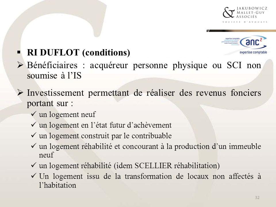 RI DUFLOT (conditions) Bénéficiaires : acquéreur personne physique ou SCI non soumise à lIS Investissement permettant de réaliser des revenus fonciers