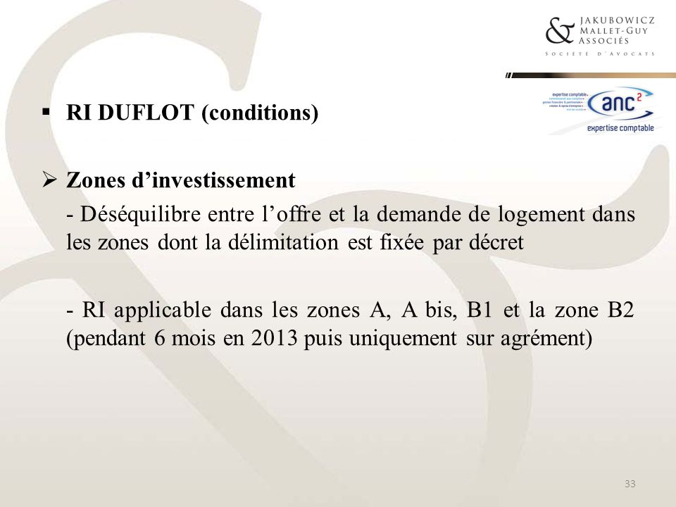 RI DUFLOT (conditions) Zones dinvestissement - Déséquilibre entre loffre et la demande de logement dans les zones dont la délimitation est fixée par d