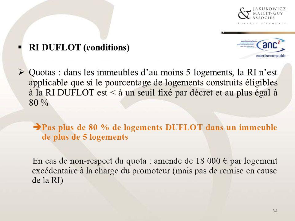 RI DUFLOT (conditions) Quotas : dans les immeubles dau moins 5 logements, la RI nest applicable que si le pourcentage de logements construits éligible