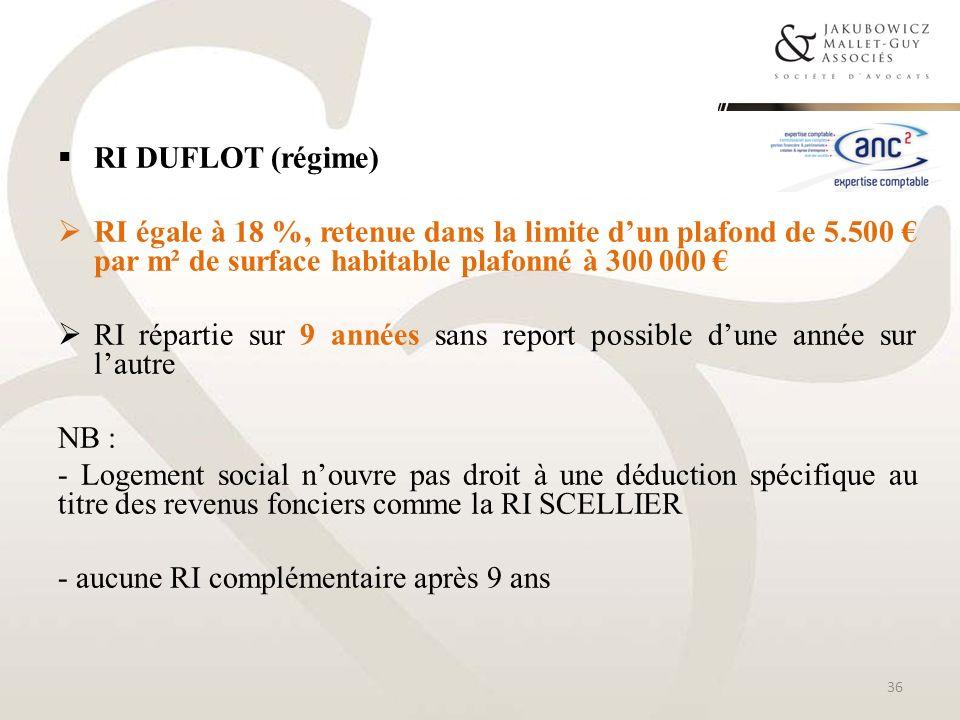 RI DUFLOT (régime) RI égale à 18 %, retenue dans la limite dun plafond de 5.500 par m² de surface habitable plafonné à 300 000 RI répartie sur 9 année