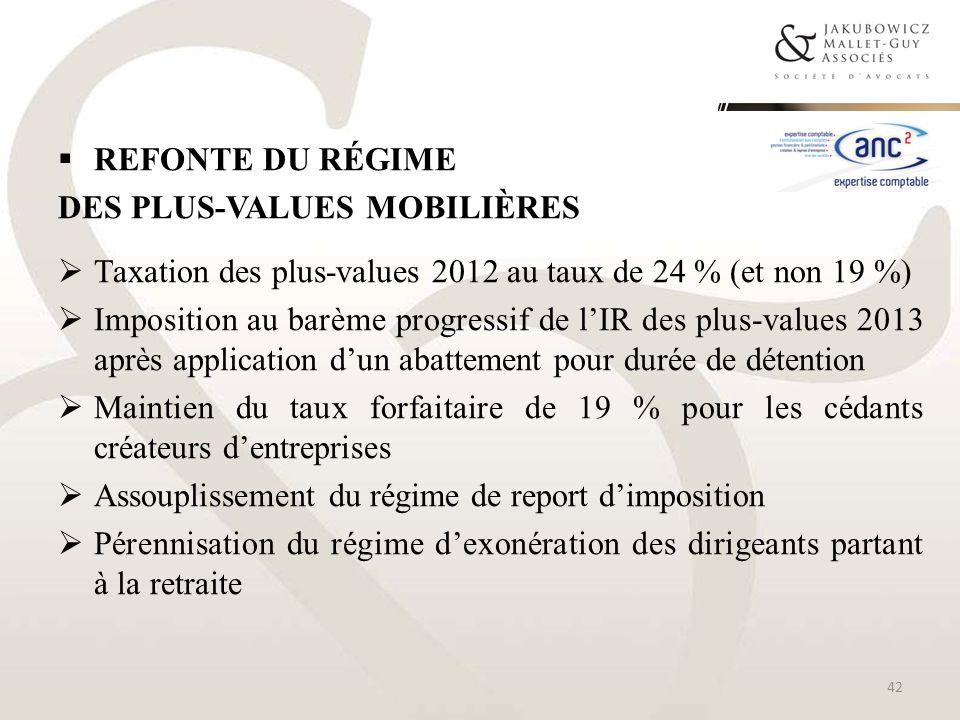 REFONTE DU RÉGIME DES PLUS-VALUES MOBILIÈRES Taxation des plus-values 2012 au taux de 24 % (et non 19 %) Imposition au barème progressif de lIR des pl