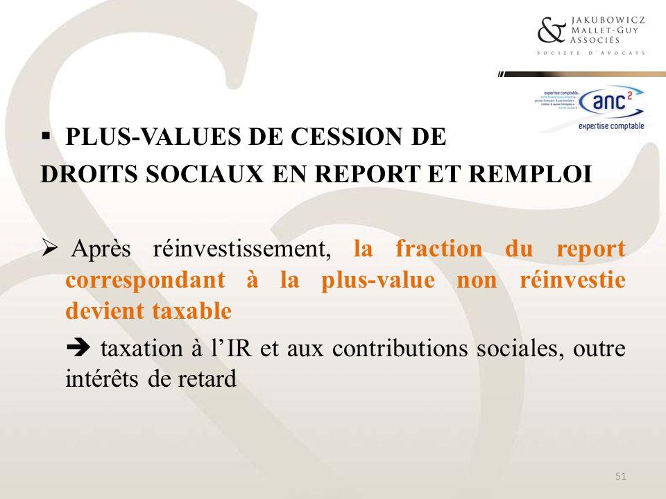 PLUS-VALUES DE CESSION DE DROITS SOCIAUX EN REPORT ET REMPLOI Après réinvestissement, la fraction du report correspondant à la plus-value non réinvest