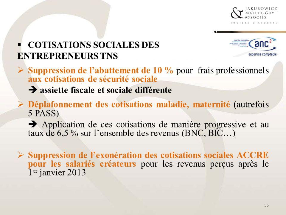 COTISATIONS SOCIALES DES ENTREPRENEURS TNS Suppression de labattement de 10 % pour frais professionnels aux cotisations de sécurité sociale assiette f