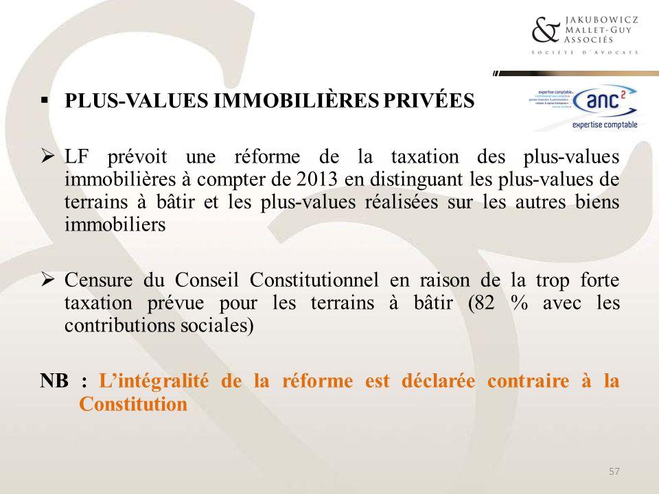 PLUS-VALUES IMMOBILIÈRES PRIVÉES LF prévoit une réforme de la taxation des plus-values immobilières à compter de 2013 en distinguant les plus-values d