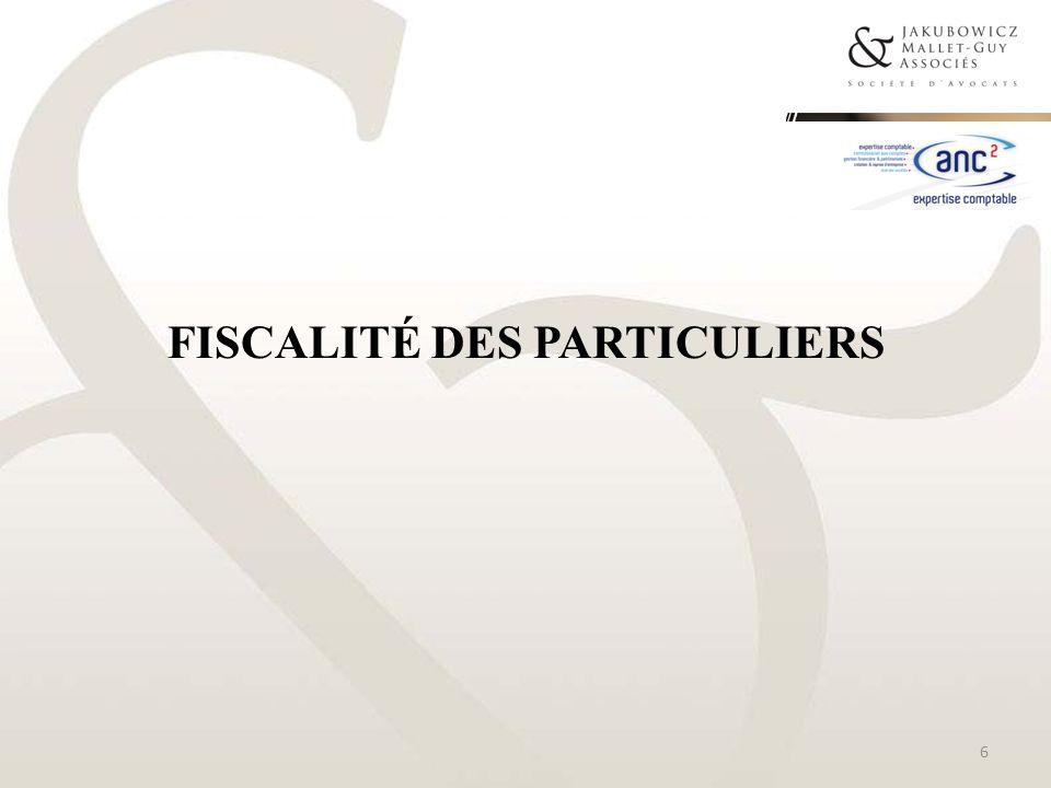 PLAFONNEMENT GLOBAL DES NICHES FISCALES 37