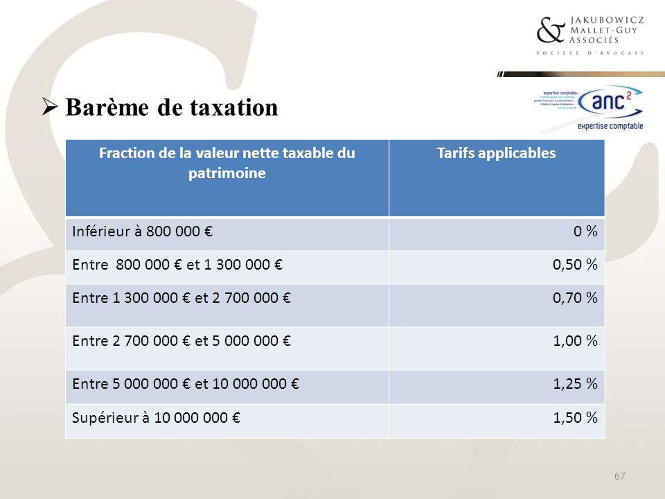 Barème de taxation Fraction de la valeur nette taxable du patrimoine Tarifs applicables Inférieur à 800 000 0 % Entre 800 000 et 1 300 000 0,50 % Entr
