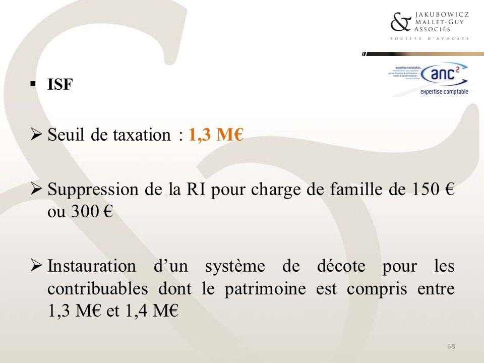 ISF Seuil de taxation : 1,3 M Suppression de la RI pour charge de famille de 150 ou 300 Instauration dun système de décote pour les contribuables dont