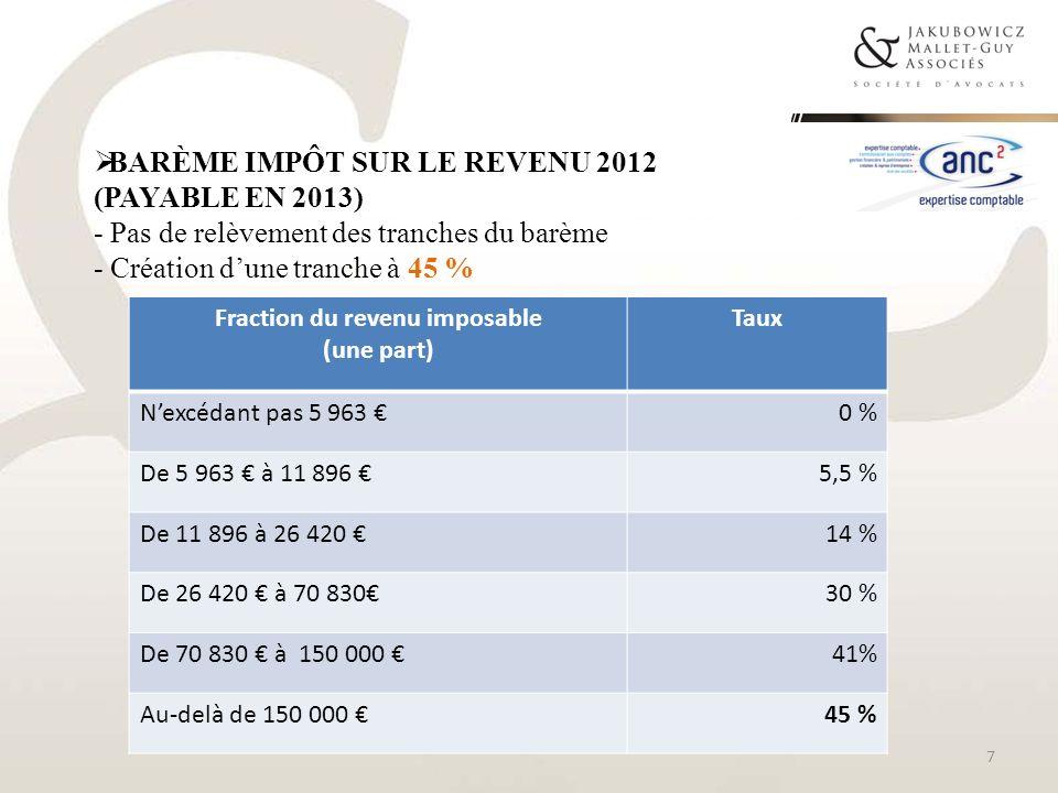 BARÈME IMPÔT SUR LE REVENU 2012 (PAYABLE EN 2013) - Pas de relèvement des tranches du barème - Création dune tranche à 45 % Fraction du revenu imposab