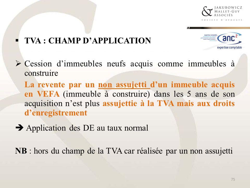 TVA : CHAMP DAPPLICATION Cession dimmeubles neufs acquis comme immeubles à construire La revente par un non assujetti dun immeuble acquis en VEFA (imm