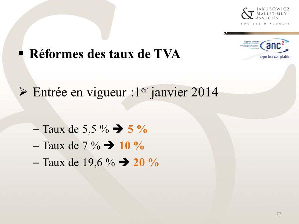 Réformes des taux de TVA Entrée en vigueur :1 er janvier 2014 – Taux de 5,5 % 5 % – Taux de 7 % 10 % – Taux de 19,6 % 20 % 77