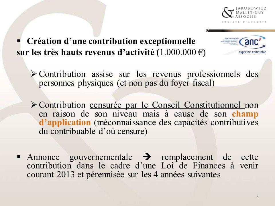 Création dune contribution exceptionnelle sur les très hauts revenus dactivité (1.000.000 ) Contribution assise sur les revenus professionnels des per