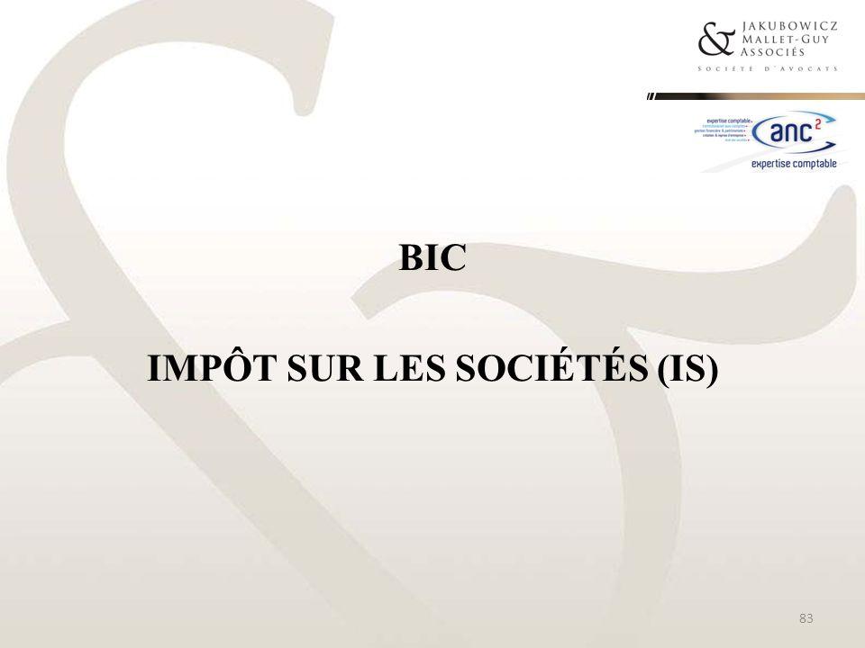 BIC IMPÔT SUR LES SOCIÉTÉS (IS) 83