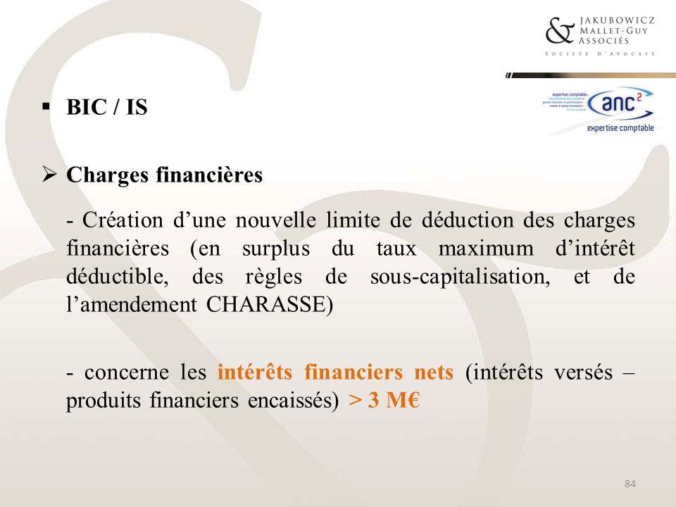BIC / IS Charges financières - Création dune nouvelle limite de déduction des charges financières (en surplus du taux maximum dintérêt déductible, des
