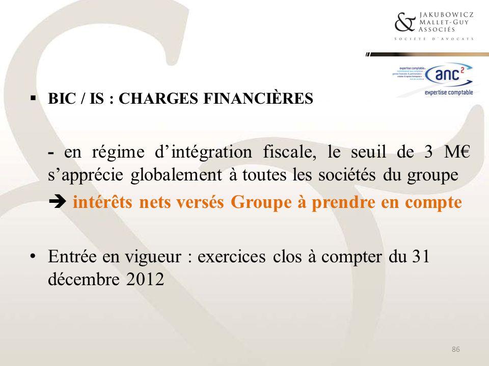 BIC / IS : CHARGES FINANCIÈRES - en régime dintégration fiscale, le seuil de 3 M sapprécie globalement à toutes les sociétés du groupe intérêts nets v