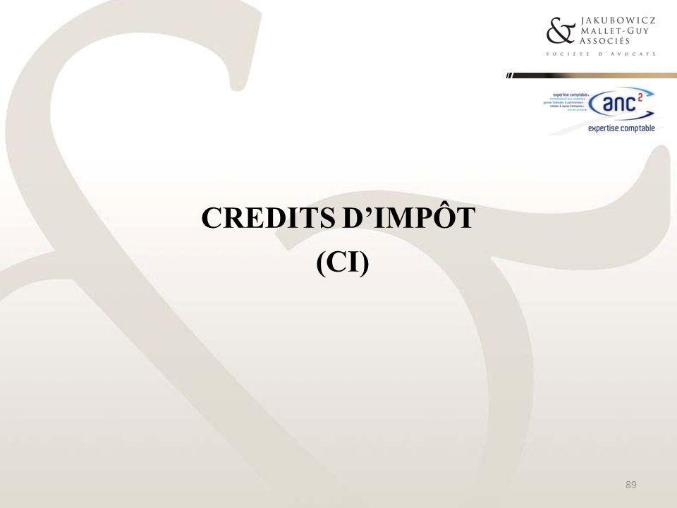 CREDITS DIMPÔT (CI) 89