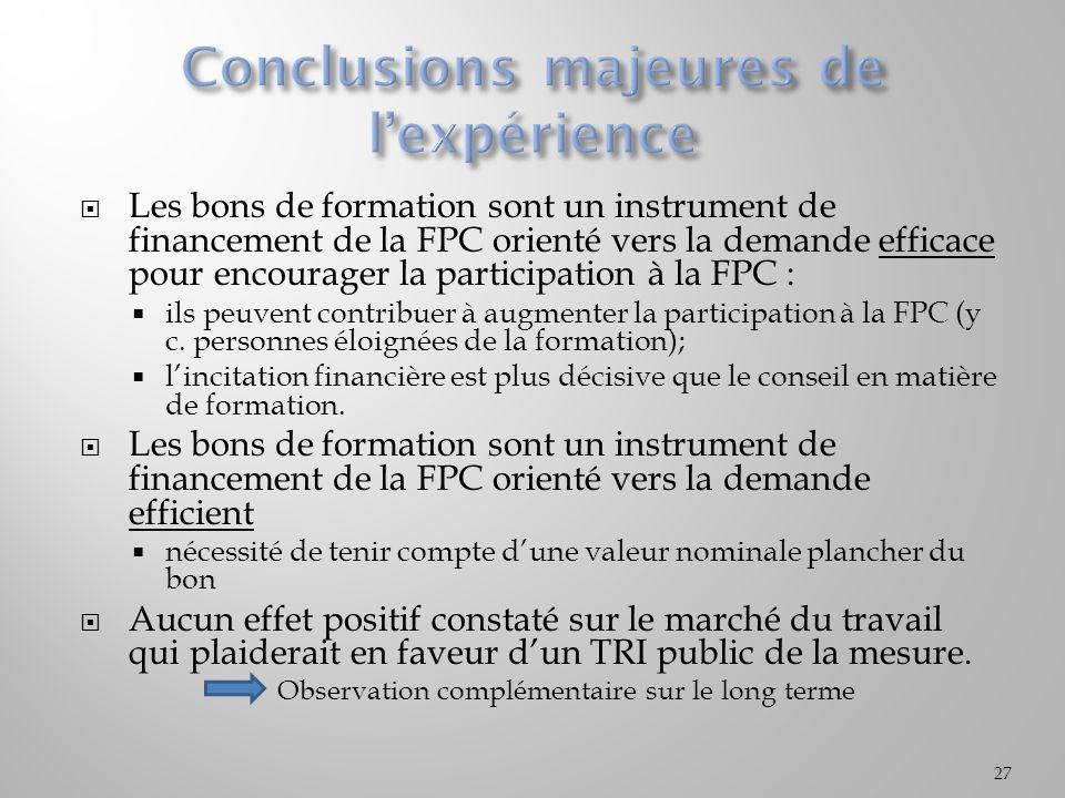 Les bons de formation sont un instrument de financement de la FPC orienté vers la demande efficace pour encourager la participation à la FPC : ils peuvent contribuer à augmenter la participation à la FPC (y c.