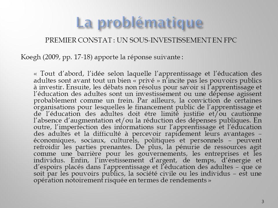 PREMIER CONSTAT : UN SOUS-INVESTISSEMENT EN FPC Koegh (2009, pp. 17-18) apporte la réponse suivante : « Tout dabord, lidée selon laquelle lapprentissa