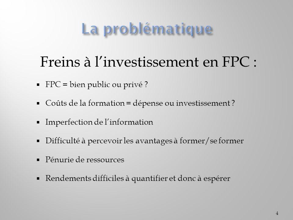 Freins à linvestissement en FPC : FPC = bien public ou privé ? Coûts de la formation = dépense ou investissement ? Imperfection de linformation Diffic