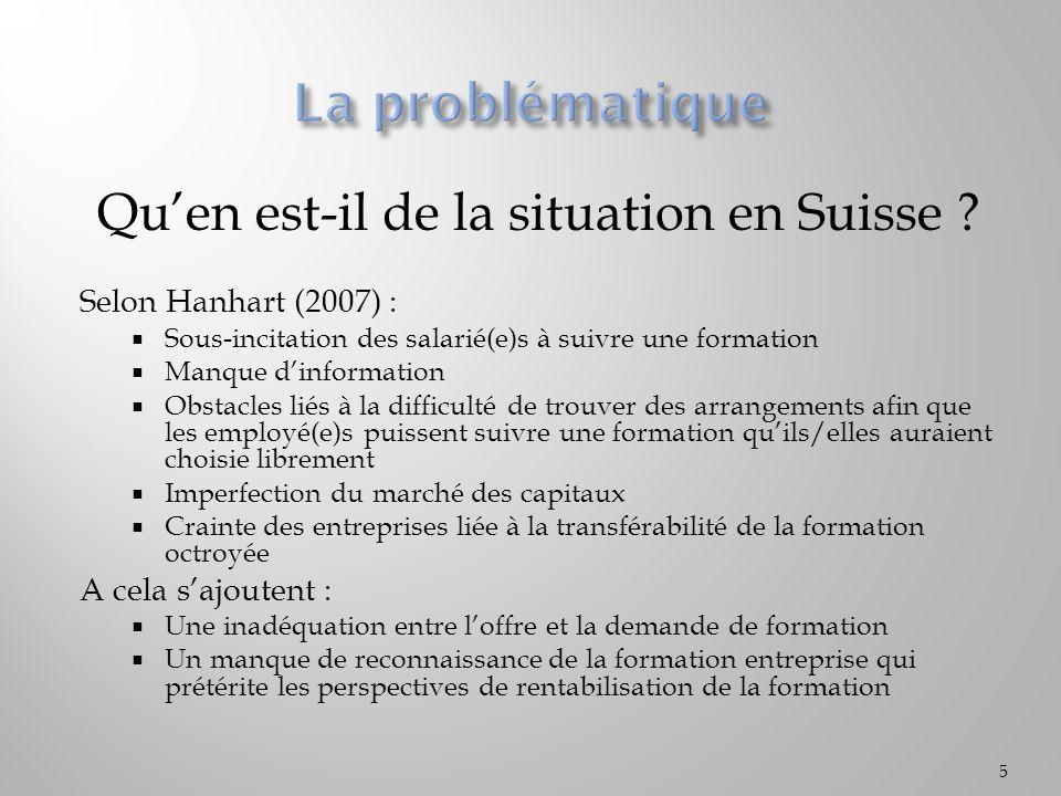 Quen est-il de la situation en Suisse ? Selon Hanhart (2007) : Sous-incitation des salarié(e)s à suivre une formation Manque dinformation Obstacles li