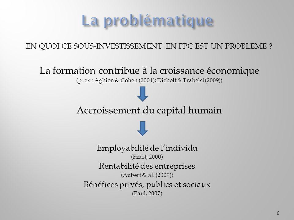 EN QUOI CE SOUS-INVESTISSEMENT EN FPC EST UN PROBLEME ? La formation contribue à la croissance économique (p. ex : Aghion & Cohen (2004); Diebolt & Tr