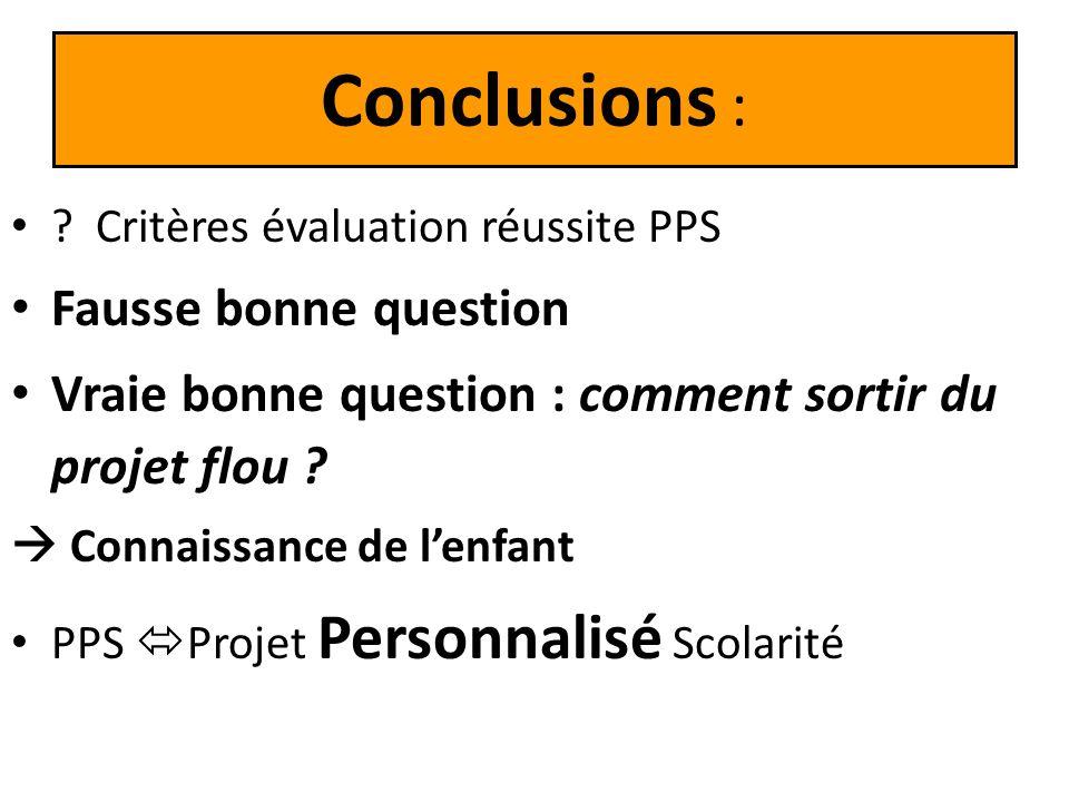 Conclusions : ? Critères évaluation réussite PPS Fausse bonne question Vraie bonne question : comment sortir du projet flou ? Connaissance de lenfant