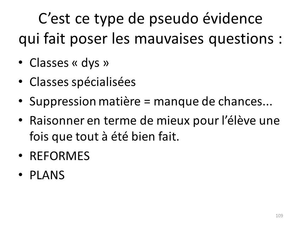 Cest ce type de pseudo évidence qui fait poser les mauvaises questions : Classes « dys » Classes spécialisées Suppression matière = manque de chances.