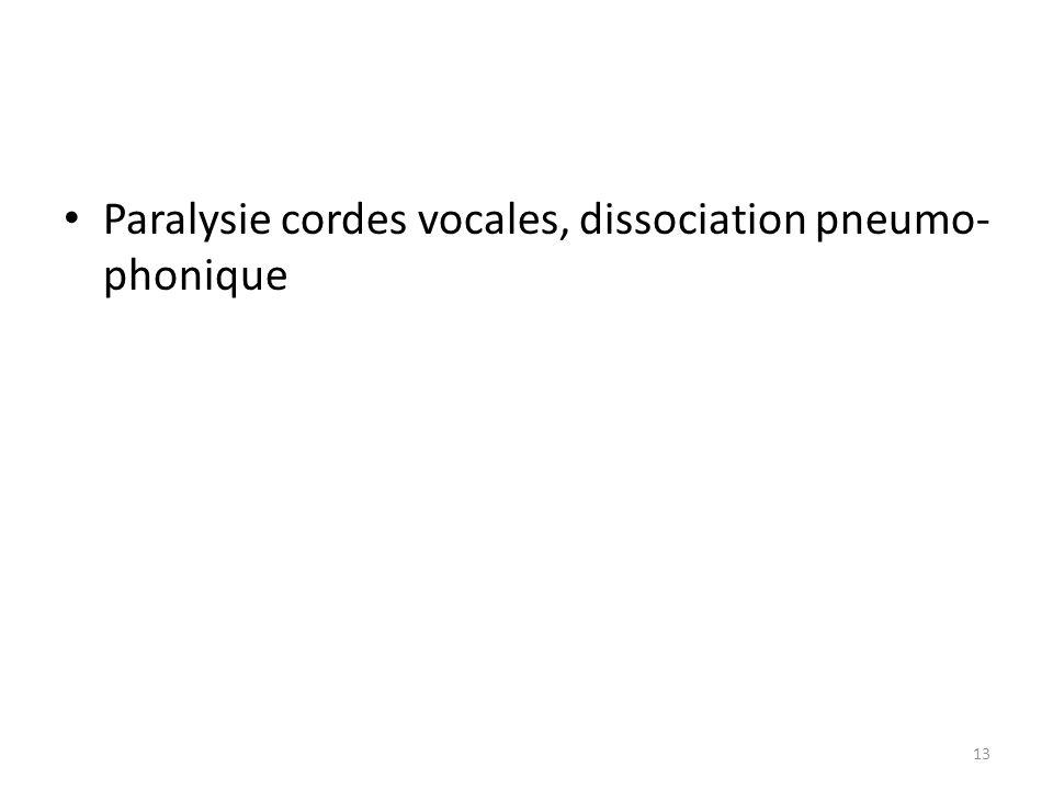 Paralysie cordes vocales, dissociation pneumo- phonique 13