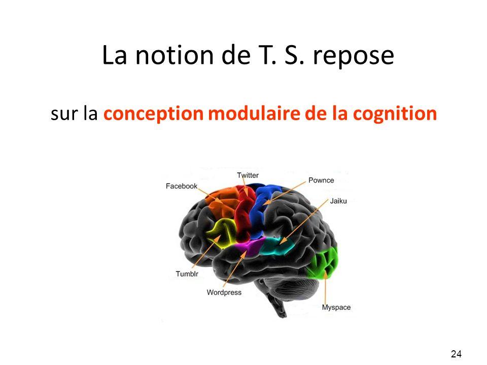 La notion de T. S. repose sur la conception modulaire de la cognition 24
