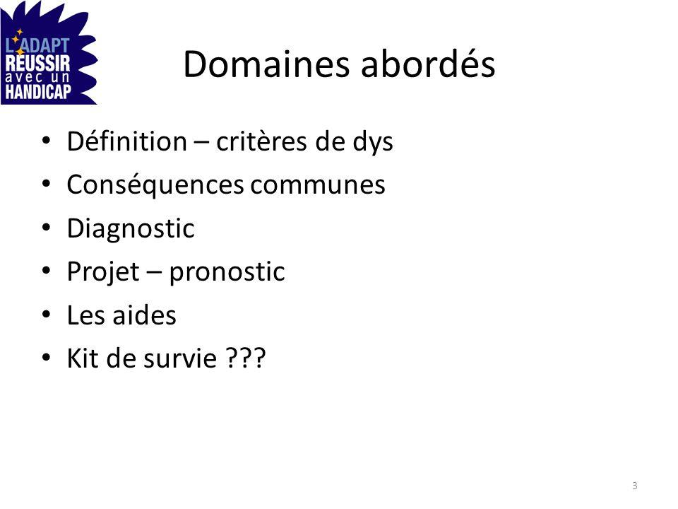 Domaines abordés Définition – critères de dys Conséquences communes Diagnostic Projet – pronostic Les aides Kit de survie ??? 3