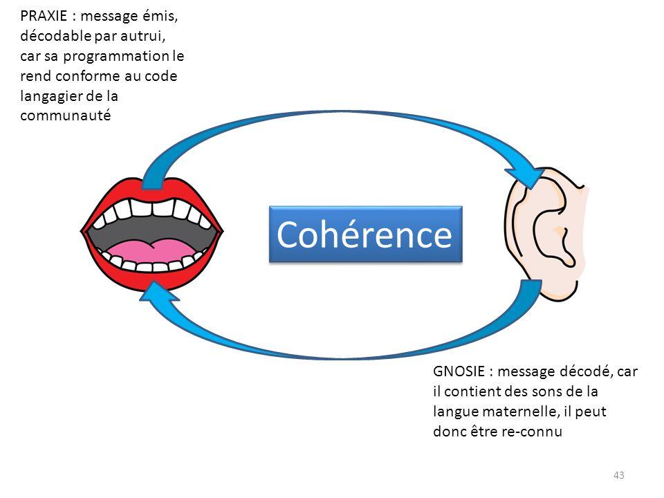 GNOSIE : message décodé, car il contient des sons de la langue maternelle, il peut donc être re-connu PRAXIE : message émis, décodable par autrui, car