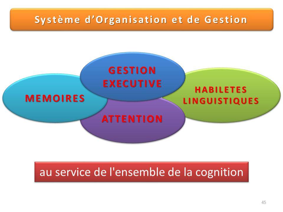 45 HABILETESLINGUISTIQUESHABILETESLINGUISTIQUES ATTENTIONATTENTION MEMOIRESMEMOIRES GESTIONEXECUTIVEGESTIONEXECUTIVE Système dOrganisation et de Gesti