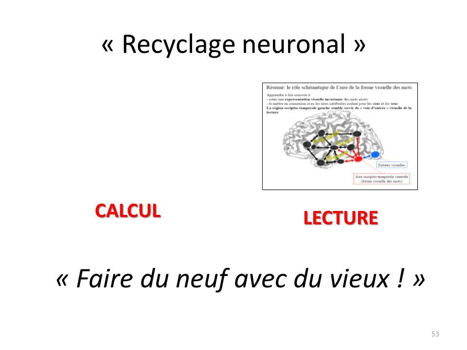 « Recyclage neuronal » « Faire du neuf avec du vieux ! » 53 LECTURE CALCUL