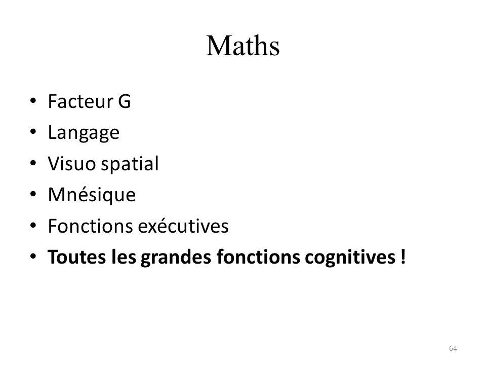 Maths Facteur G Langage Visuo spatial Mnésique Fonctions exécutives Toutes les grandes fonctions cognitives ! 64