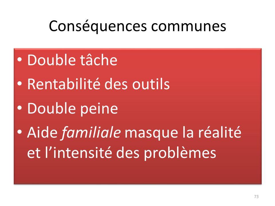 Conséquences communes Double tâche Rentabilité des outils Double peine Aide familiale masque la réalité et lintensité des problèmes Double tâche Renta