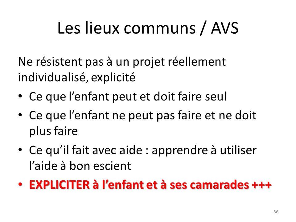 Les lieux communs / AVS Ne résistent pas à un projet réellement individualisé, explicité Ce que lenfant peut et doit faire seul Ce que lenfant ne peut