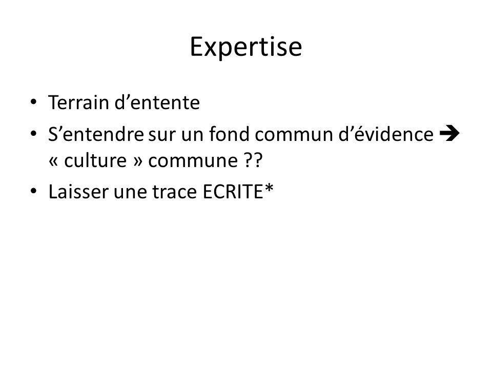 Expertise Terrain dentente Sentendre sur un fond commun dévidence « culture » commune ?? Laisser une trace ECRITE*