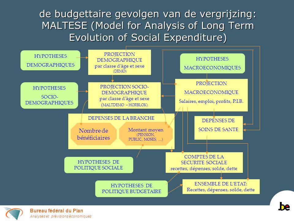 Bureau fédéral du Plan Analyses et prévisions économiques de budgettaire gevolgen van de vergrijzing: MALTESE (Model for Analysis of Long Term Evolution of Social Expenditure) DEPENSES DE LA BRANCHE HYPOTHESES SOCIO- DEMOGRAPHIQUES HYPOTHESES DEMOGRAPHIQUES PROJECTION SOCIO- DEMOGRAPHIQUE par classe dâge et sexe ( MALTDEMO – HORBLOK) HYPOTHESES MACROECONOMIQUES PROJECTION MACROECONOMIQUE Salaires, emploi, profits, P.I.B.