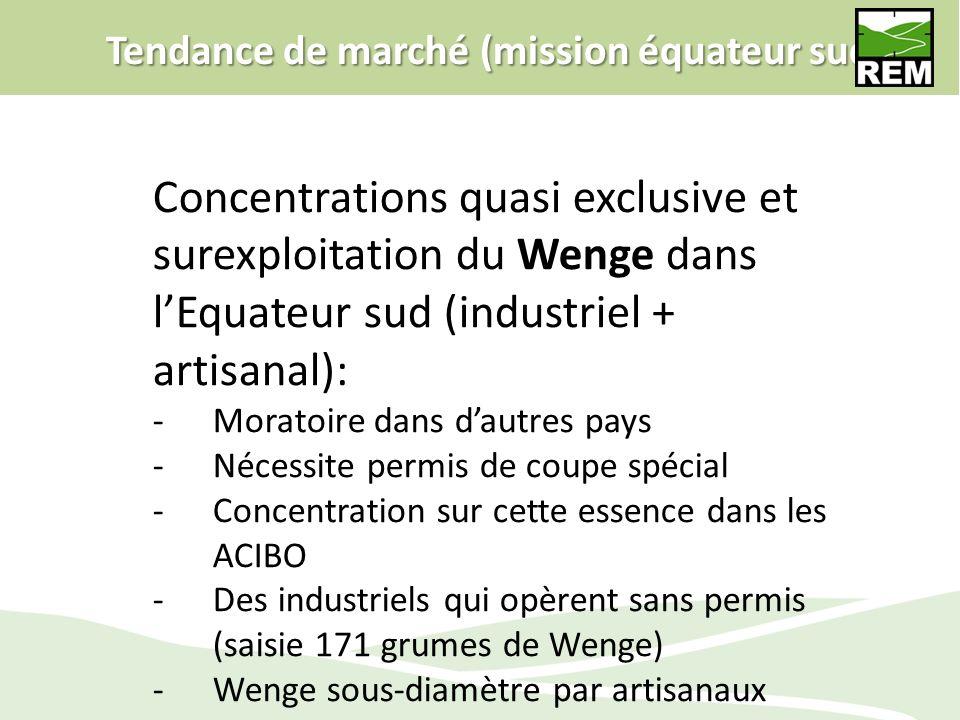 Tendance de marché (mission équateur sud) Concentrations quasi exclusive et surexploitation du Wenge dans lEquateur sud (industriel + artisanal): -Mor