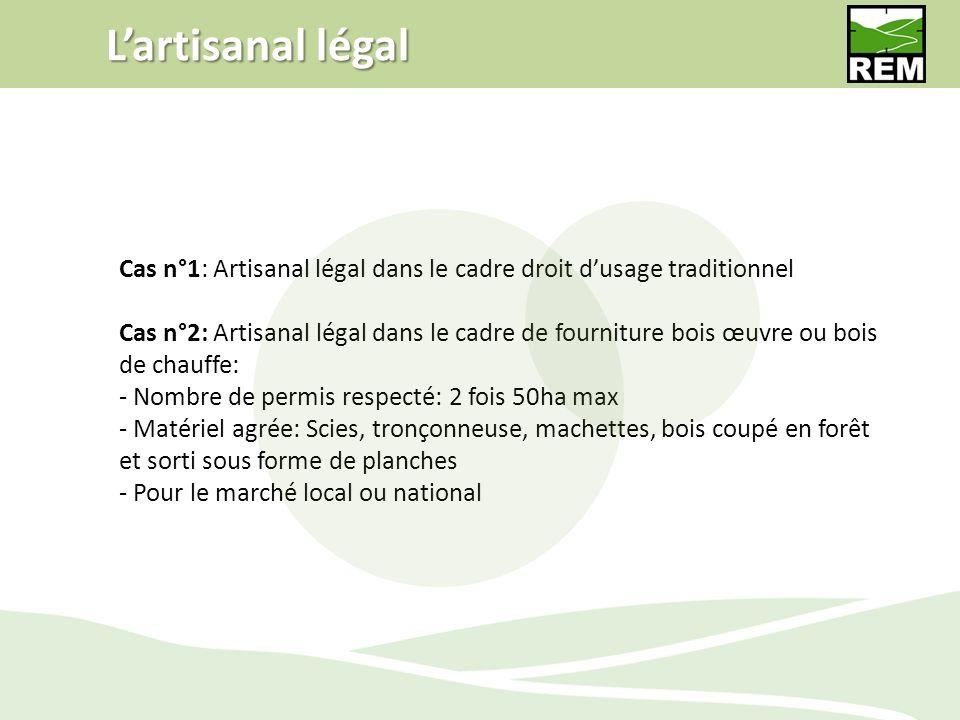 Lartisanal légal Cas n°1: Artisanal légal dans le cadre droit dusage traditionnel Cas n°2: Artisanal légal dans le cadre de fourniture bois œuvre ou b