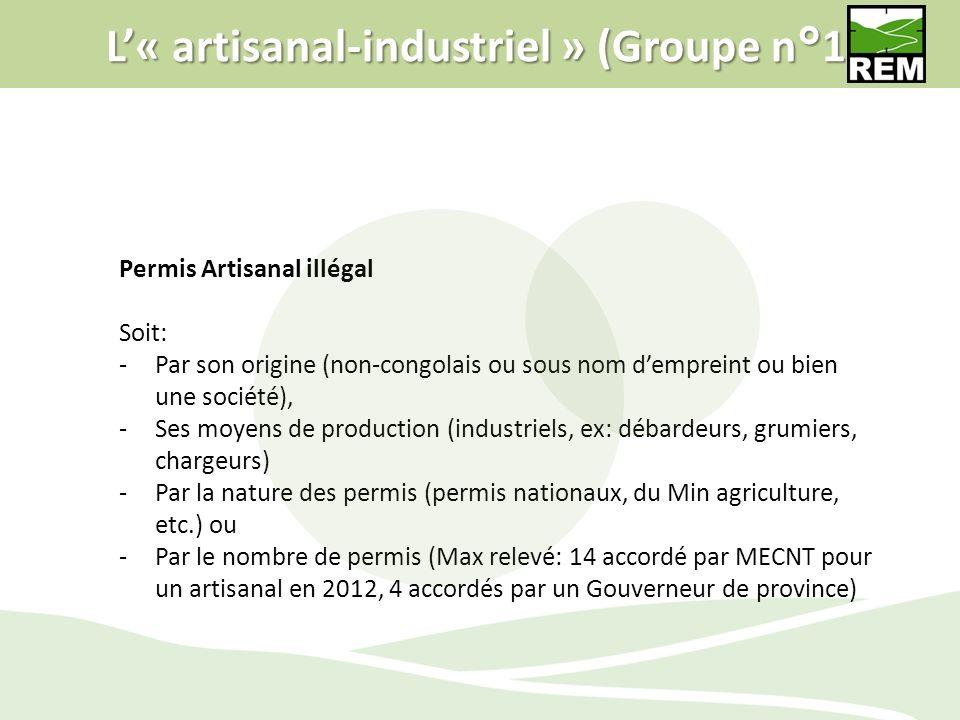 L« artisanal-industriel » (Groupe n°1) Permis Artisanal illégal Soit: -Par son origine (non-congolais ou sous nom dempreint ou bien une société), -Ses